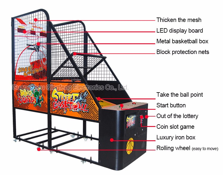 Qingfeng indoor arcade hoops cabinet basketball game/extreme hoops ...