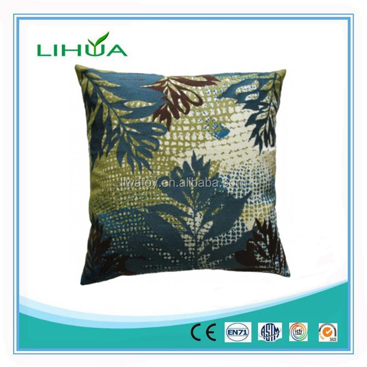 Koko Company Blue- Brown Leaf Emboidery pillow