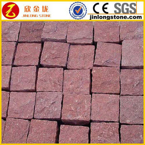 Cheap natural red porphyry paver kerbstone curb stone