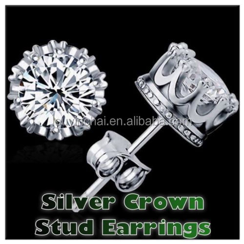 925 Sterling Silver CZ Round Crystal Cubic Zirconia Crown Stud Earrings