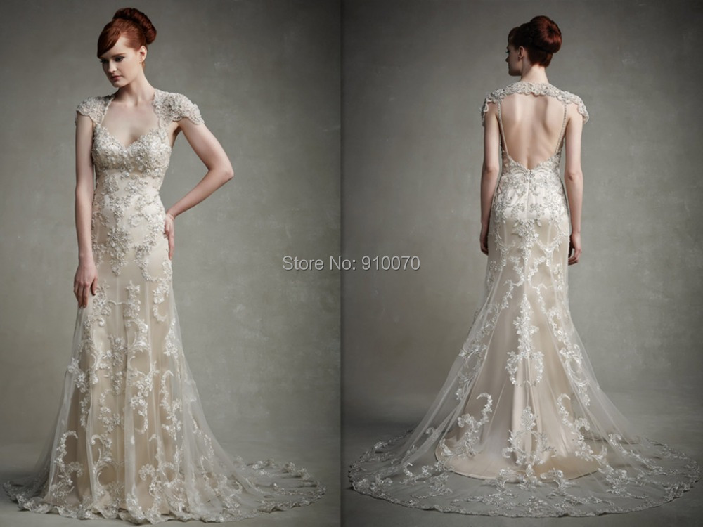 2015 New Arrival Sweetheart Cap Sleeve Bridal Gown