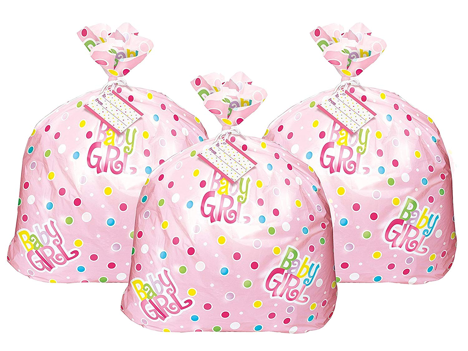 Set of 3 Unique Industries Jumbo Plastic Pink Polka Dot Girl Baby Shower Gift Bag bundled by Maven Gifts