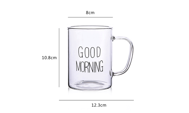 Custom logo borosilicate glass water drinking cup 400ml reusable glass coffee cup