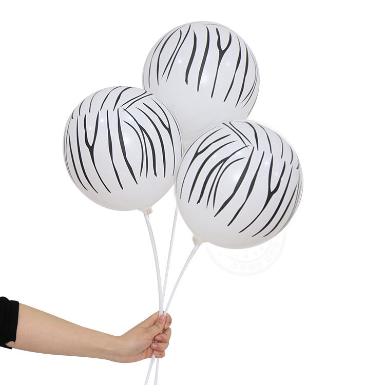 Tiger  Strip Snow Shape Printed Balloon Factory 12inch Animal Patten Printed  Latex Balloon For Party Wedding Decoration
