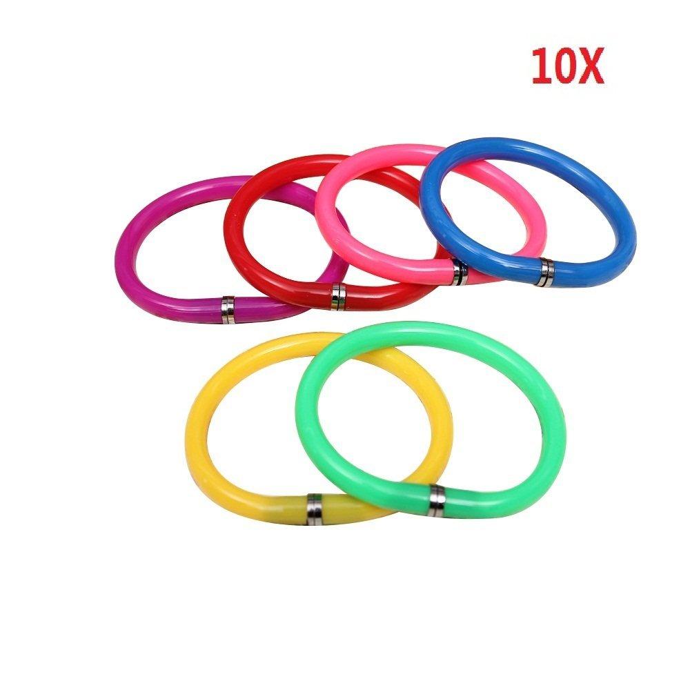 Meetory 10 Pcs Plastic Flexible Wristlet Circlet Ballpoint Pen Candy Color Office Supplies ( Random Color)