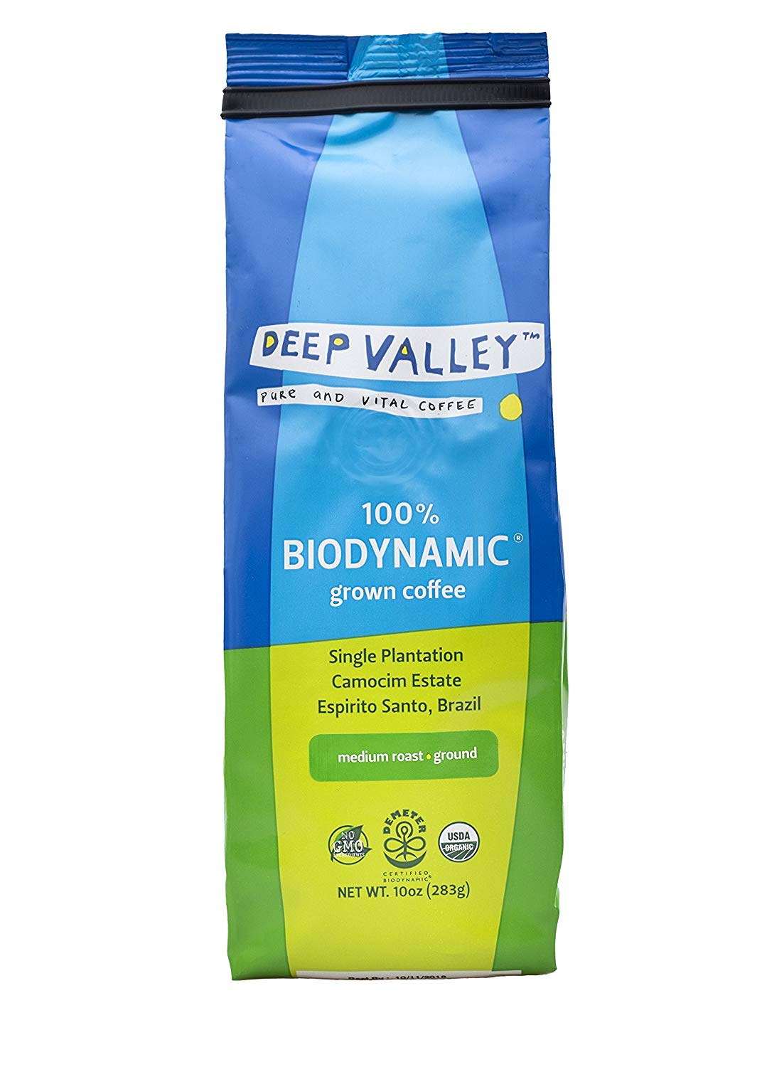 DEEP VALLEY Certified Biodynamic Organic Ground Coffee, Medium Roast, NON-GMO, Sourced from Single Origin Sustainable farm, 10 oz bag