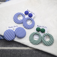 South Korea's new summer beach fashion design girls navy blue stripe fabric cloth personality temperament big circle Ear ring