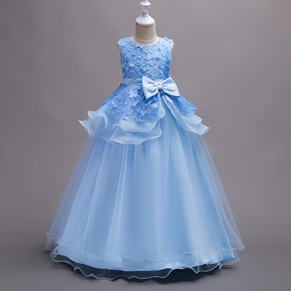 Western Style Flower Girl Wedding Gown Layered Modeling Kid Evening