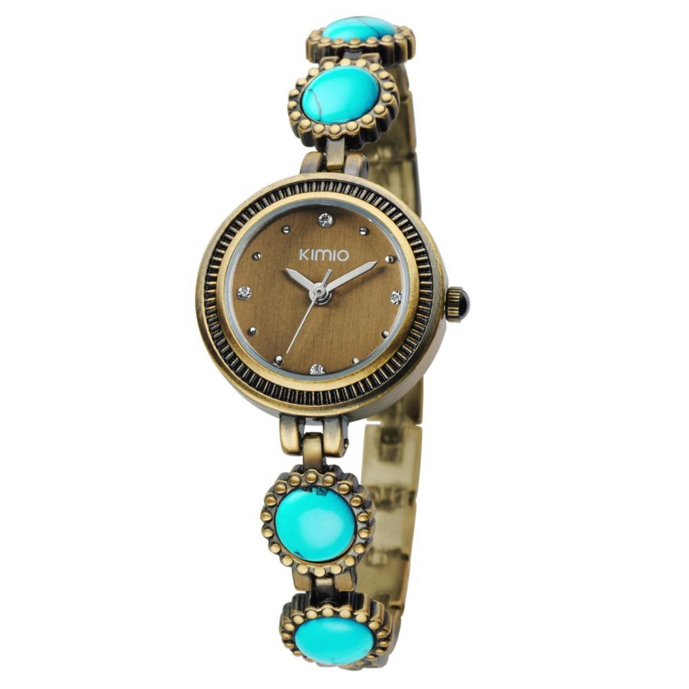 montre femme de marque kimio fashion vintage analog quartz watch women retro bronze color dress. Black Bedroom Furniture Sets. Home Design Ideas