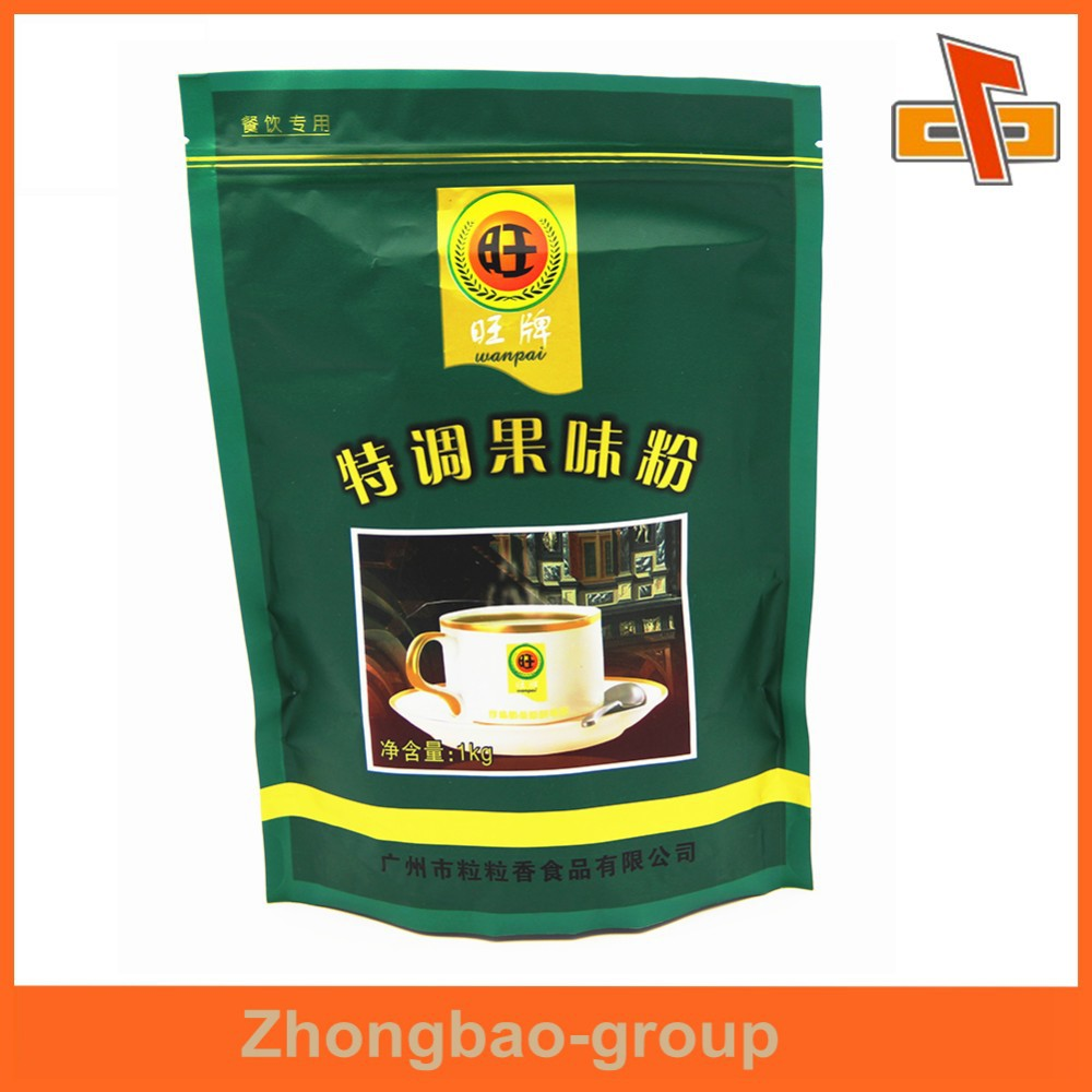 laminated material moisture proof stand up plastic bag with zip for drinks powder