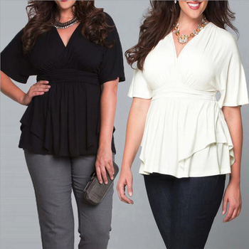 Women New V Neck Solid Ruffle Long Sleeve Plus Size Tunic Tops And Blouses