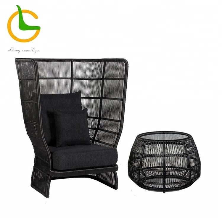 Comfortable high backrest rattan wicker single sofa nice design outdoor furniture