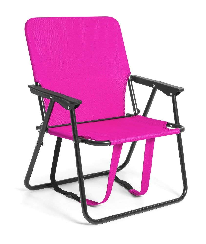 "12"" Height Seat Backpack Folding Chair Outdoor Beach Camping (Pink)"
