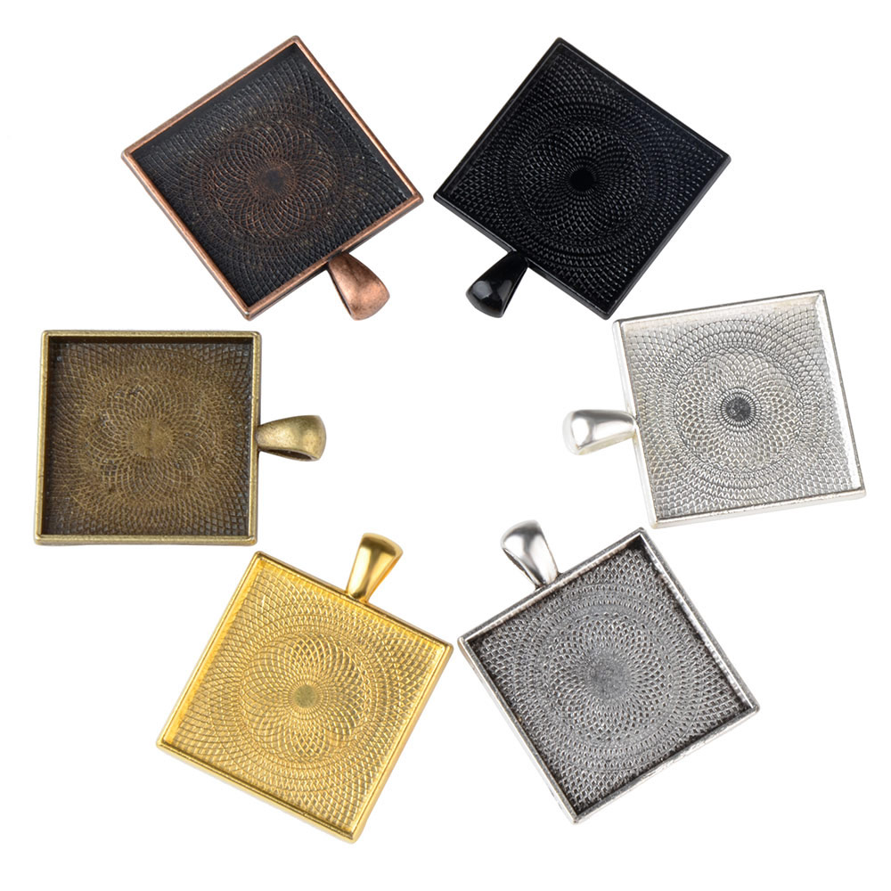 DIY 25mm 35mm Square Copper Making Material Pendant Blanks Setting Tray Cabochon Base of Jewelry <strong>Accessories</strong>