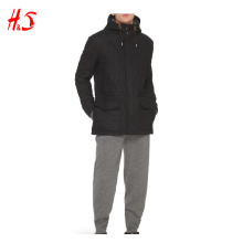 Men's Waterproof Flannel long Hood jacket dark grey