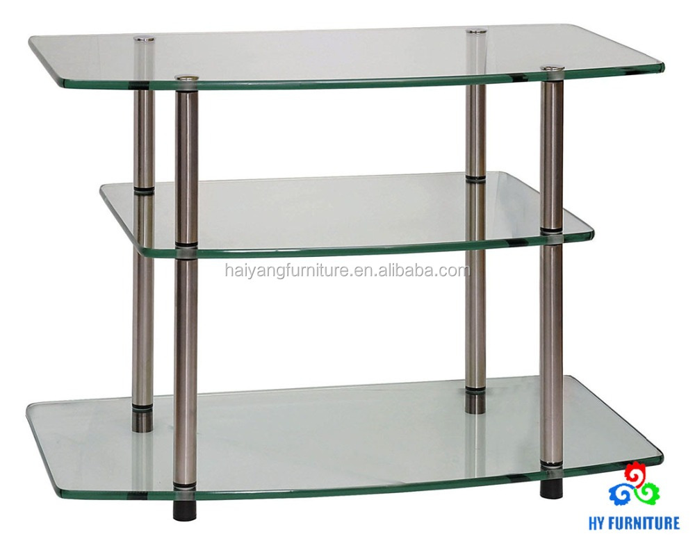 Living room furniture 3 tier glass TV stand side table coffee table