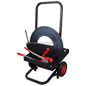 hand steel PP PET strapping dispenser cart with rolling wheel