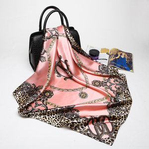2018 New Fashion Women Scarf Luxury Brand Pink Leopard Hijab Silky Satin Shawl Scarfs Foulard Square Head Scarves Wraps