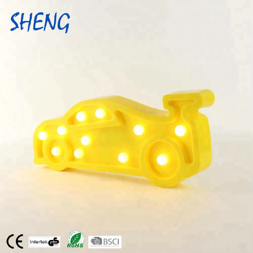 10 LED Marquee Night Wall Hanging Car Shaped Lamp Home Decorative Night Light