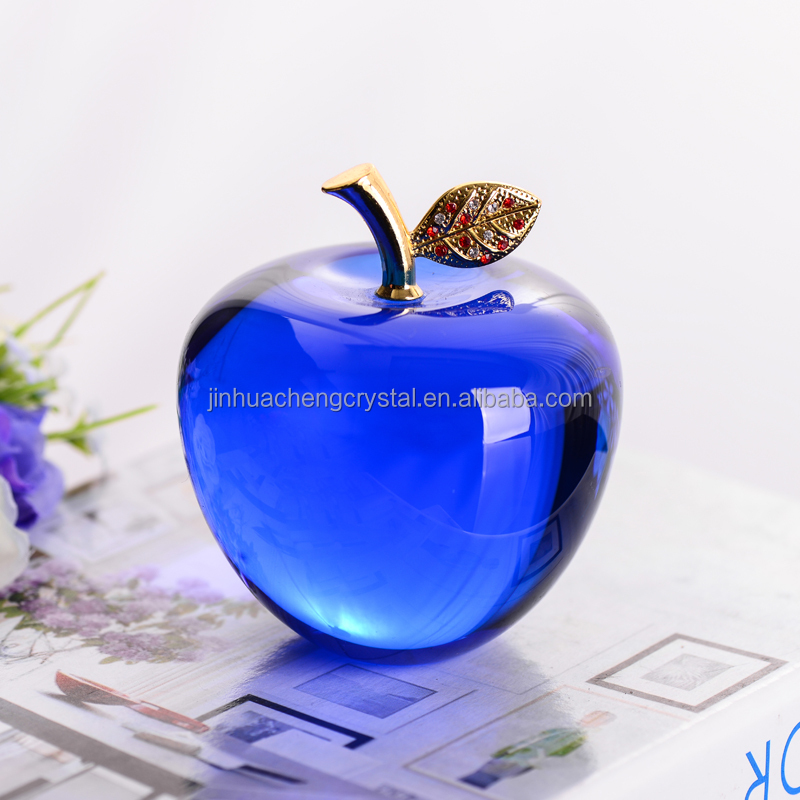 pretty dark blue color crystal glass 3D apple model gifts for decoration