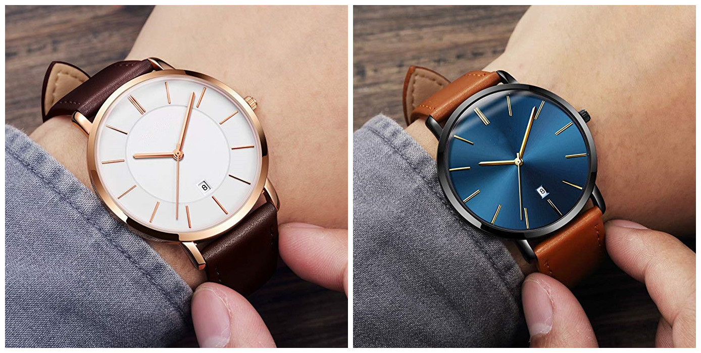 Minimalist Mens Fashion Casual Quartz Watch Waterproof Wrist Watch Genuine Leather Band for Men