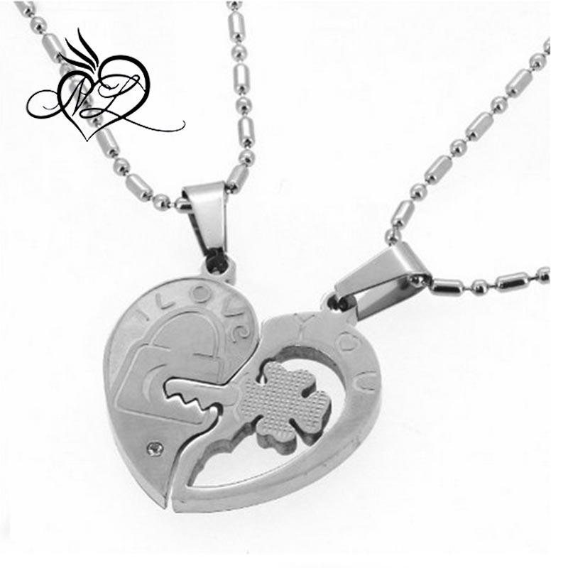 "Valentine Couple's ""Love You"" Lock and Key Pendant Necklaces Titanium Stainless Steel"
