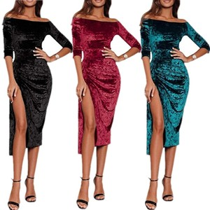 Black Wine Red Green Women Velvet Dress High Slit Sexy Midi Dresses Slash Neck Party Club Bodycon Clothes E1905