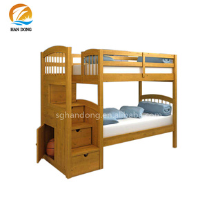 Kids Teens Solid Wood Twin Bunk Beds With Drawer Stairway