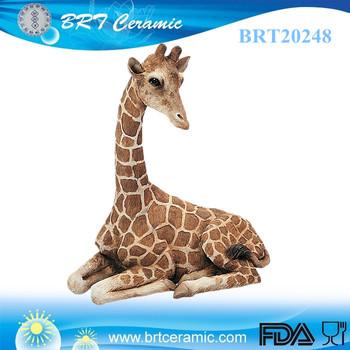 Home Decor Animal Simulation Resin Life Sitting Giraffe Statue Size