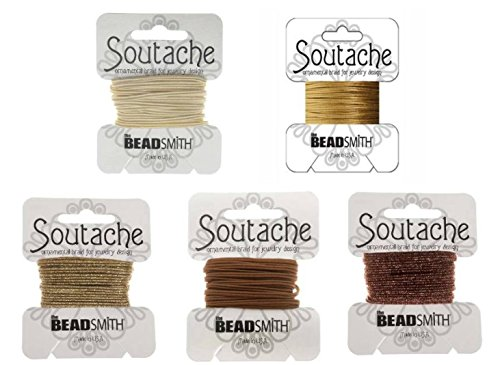 "Beadsmith Soutache Braided Rayon Cord / Trim 3mm Wide - 5-color Combo - ""Mocha Latte"" 3 Yds Per Color)"