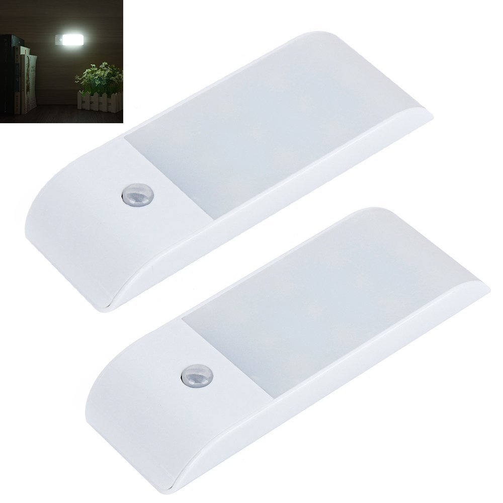 Bonlux Portable Motion Sensor LED Night Light USB Rechargeable Built-in Lithium Battery Powered Wireless LED Wall Sconce Light for Cabinet Closet Stairs Hallway Bedroom Light (Daylight, 2-Pack)