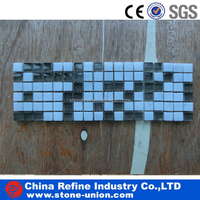 Cheap white marble and glass mosaic tile