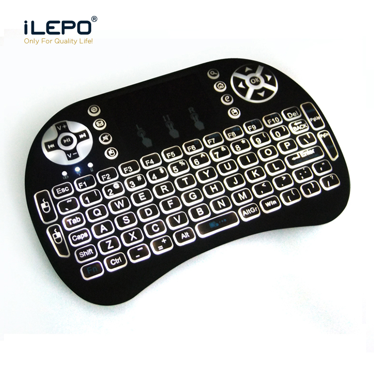 Lage fabriek prijs backlight air mouse keyboard oplaadbare polymeer batterij 2.4g air mouse USB wireless air mouse