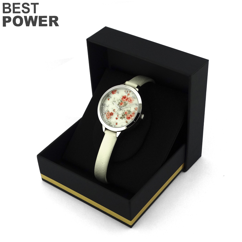 Dishy type alloy case sliver color dial woman watch thin leather belt watch