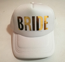 Add to Favorites. drop shipping Bride team bride hats golden printing  Bachelorette Hats Women Wedding Preparewear Trucker Cap 2c15f0f20b7e