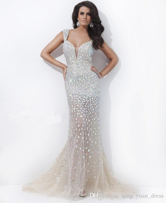 f947679c3f Get Quotations · Fabulous Beading Strapless Champagne Mermaid Plus Size Evening  Dresses Sexy Tulle Evening Gown 2015 New Arrival