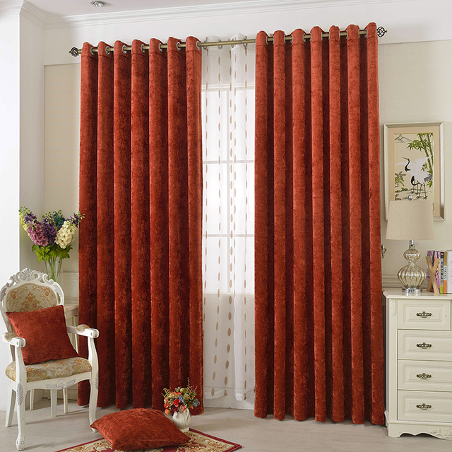 European Style Luxury Polyester Fabric Drapes Blackout Grommet Curtains For Living Room Hotel