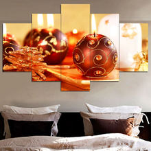 Reproduction from China new style 5 panel Christmas modern oil painting on canvas for bedroom decor wall art
