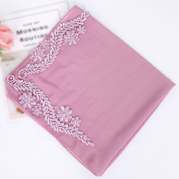 2019 new square chiffon hijab with beads embroidery floral beaded kerchief chiffon hijab