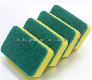 factory price!!! customized plastic mesh scourer sponge , sponge scourer with high quality low price from HT