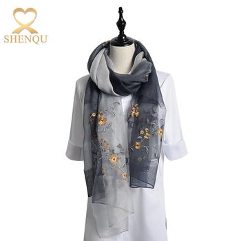 Lightweight Luxurious Hand Embroidery Wool Shawl Turkish Silk Scarf