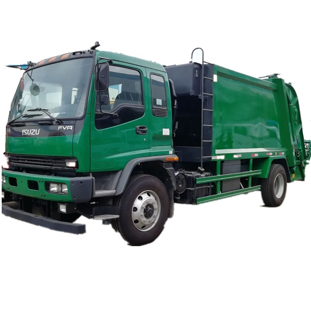 Euro5 middle duty ISUZU rear self load 8 tons compactor garbage truck with stainless steel waste bin