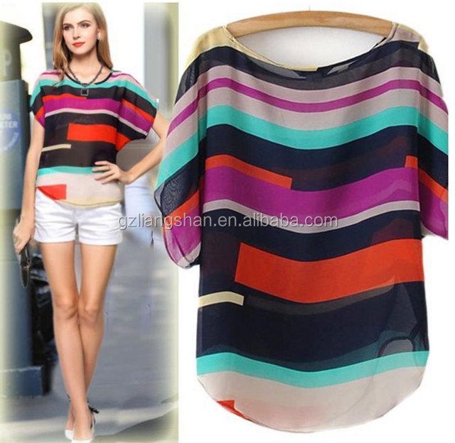 Fahionable new printed t shirt wholesale china women blouse tops summer casual color combinations silk shirt