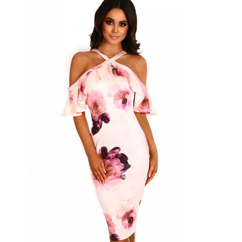 Hot fashion print halter strap cross sexy bare shoulder bag dress