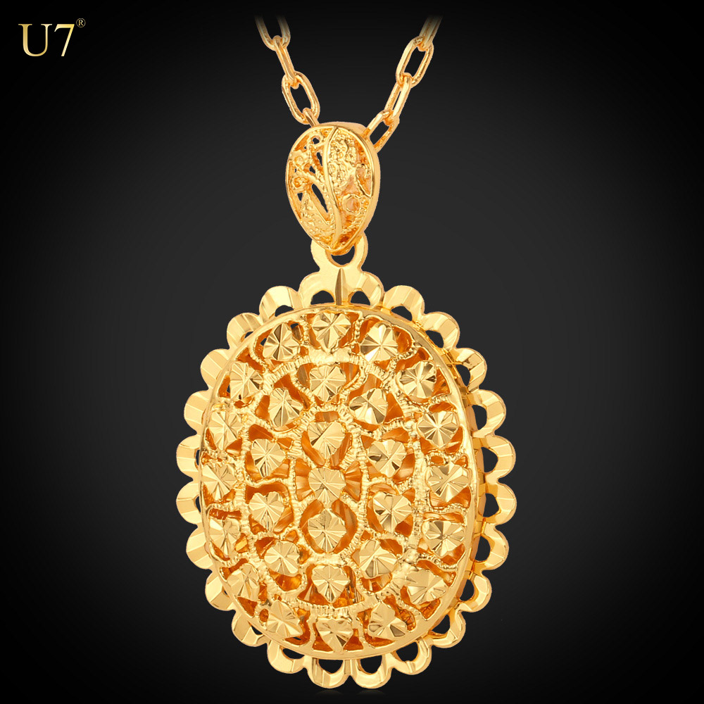 U7 Vintage retro dubai gold jewelry necklace with pendant 18K Gold Plated Love Heart Necklaces & Pendants Women Jewelry Gift фото