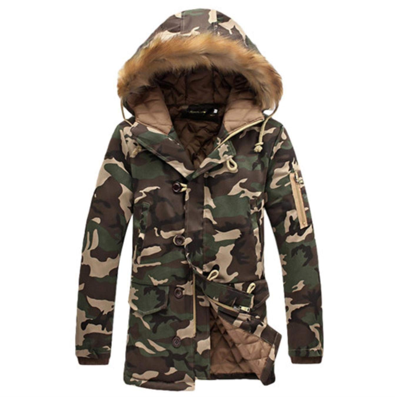 Gnao Mens Quilted Hooded Warm Faux Fur Camo Print Long Down Jacket