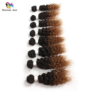 Brazilian Virgin Remy Hair 8pcs/Lot For One Head Afro Kinky Curly Human Hair Extensions Ombre Color Fast Shipping