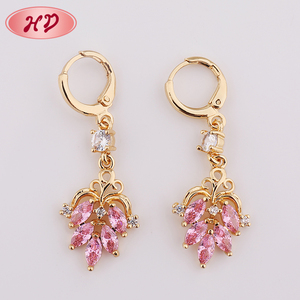 New Fashion 18K Gold Silk Thread Druzy Cubic Zirconia Drop Earrings