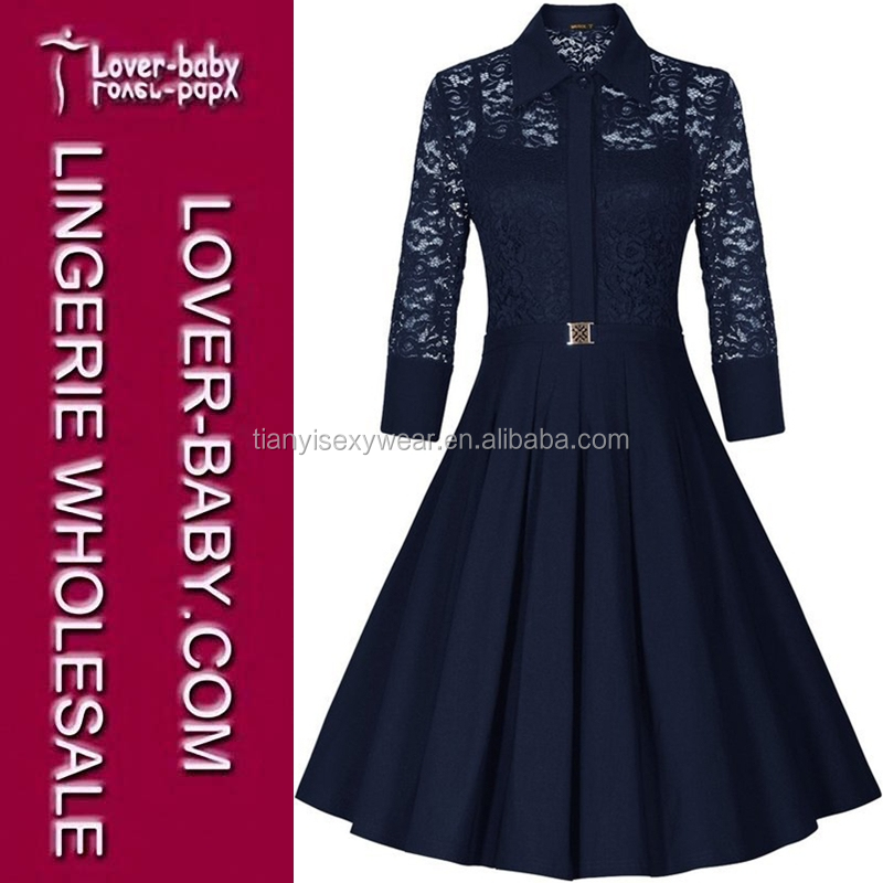 Dark Blue Long Sleeves Formal Office Business Styles Casual Dress 2016 Wholesale Woman New Dress Clothes