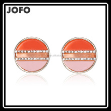 8HCS-062 Fashion Plat Swirl Effect Resin Stones Pave Setting Crystals 22K Gold Round Shaped Alloy Stud Earrings